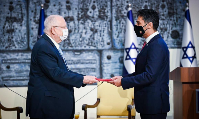Mohamed Al Khaja, the UAE envoy, arrived in Israel on Monday, delivered his credentials to Israeli President Reuven Rivlin at a ceremony in Jerusalem. — Photo courtesy Al Khaja Twitter